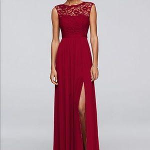 David's Bridal bridesmaid dress F19328 Apple